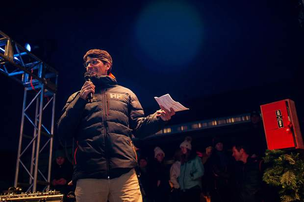 Aspen Skiing Co. CEO and President Mike Kaplan speaking at the Snowmass Base Village grand opening Saturday night.