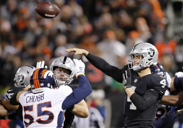 Oakland Raiders quarterback Derek Carr (4) passes against the Denver Broncos during the first half of an NFL football game in Oakland, Calif., Monday, Dec. 24, 2018. (AP Photo/John Hefti)
