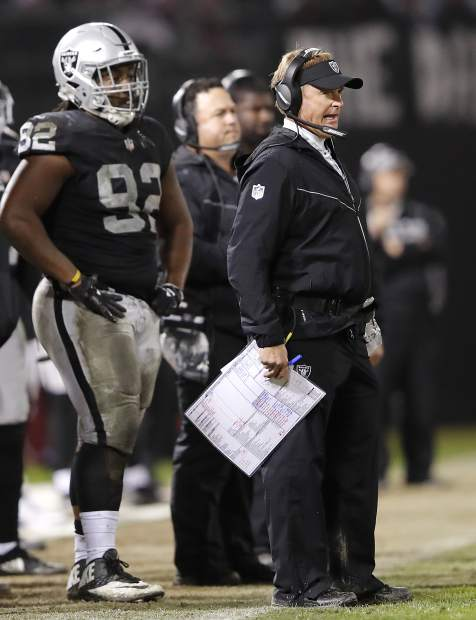 Oakland Raiders head coach Jon Gruden, right, watches from the sideline during the second half of an NFL football game against the Denver Broncos in Oakland, Calif., Monday, Dec. 24, 2018. (AP Photo/John Hefti)