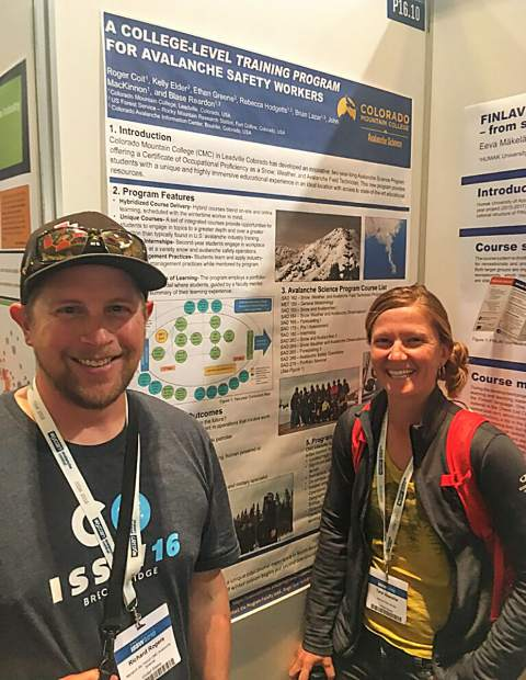 Colorado Mountain College avalanche science program students Rich Rogers and Tara Vessella answered questions about the program poster behind them from attendees at the recent International Snow Science Workshop 2018 in Innsbruck, Austria. The conference offers an exchange of ideas and experiences between snow science researchers and practitioners.