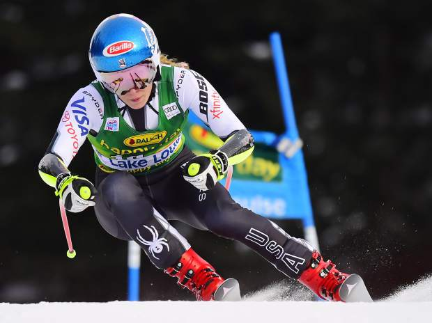 Mikaela Shiffrin, of the United States, skis down the course during the women's World Cup super G ski race in Lake Louise, Alberta, Sunday, Dec. 2, 2018. (Frank Gunn/The Canadian Press via AP)