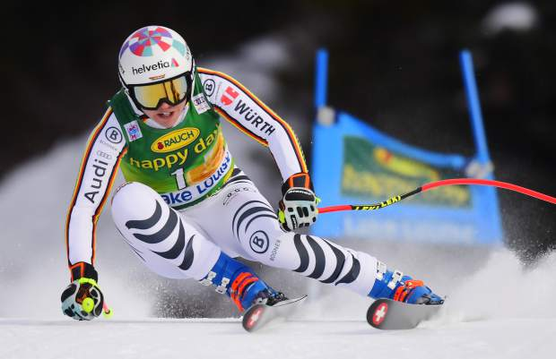Viktoria Rebensburg, of Germany, skis down the course during the women's World Cup super G ski race in Lake Louise, Alberta, Sunday, Dec. 2, 2018. (Frank Gunn/The Canadian Press via AP)