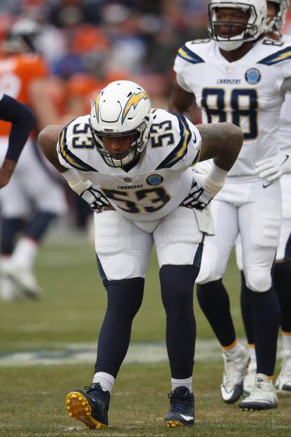 Los Angeles Chargers free safety Derwin James warms up before an NFL football game between the Los Angeles Chargers and the Denver Broncos, Sunday, Dec. 30, 2018, in Denver. (AP Photo/David Zalubowski)