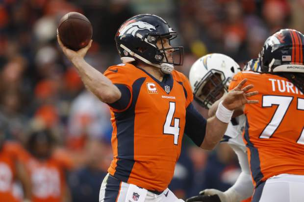 Denver Broncos quarterback Case Keenum throws a pass during the first half of an NFL football game against the Los Angeles Chargers, Sunday, Dec. 30, 2018, in Denver. (AP Photo/David Zalubowski)