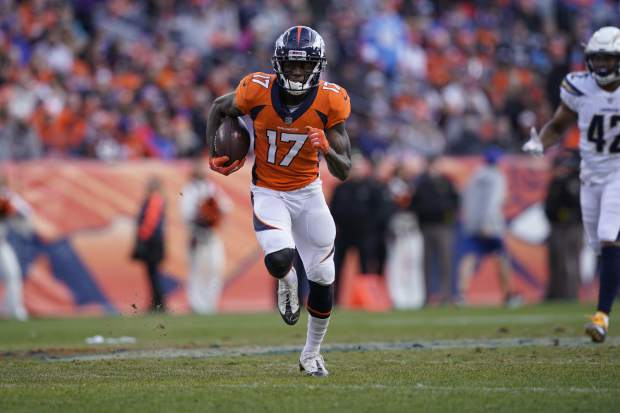 Denver Broncos wide receiver DaeSean Hamilton (17) rushes during the first half of an NFL football game against the Los Angeles Chargers, Sunday, Dec. 30, 2018, in Denver. (AP Photo/Jack Dempsey)