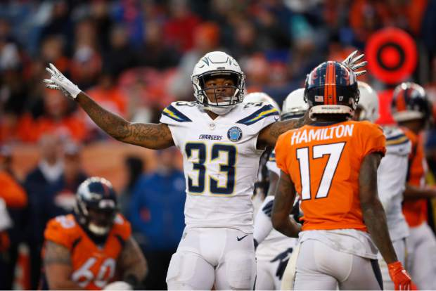 Los Angeles Chargers free safety Derwin James (33) reacts during the second half of an NFL football game against the Denver Broncos, Sunday, Dec. 30, 2018, in Denver. (AP Photo/David Zalubowski)