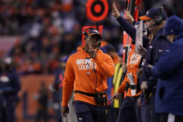 Denver Broncos head coach Vance Joseph looks on during the second half of an NFL football game against the Denver Broncos, Sunday, Dec. 30, 2018, in Denver. (AP Photo/Jack Dempsey)