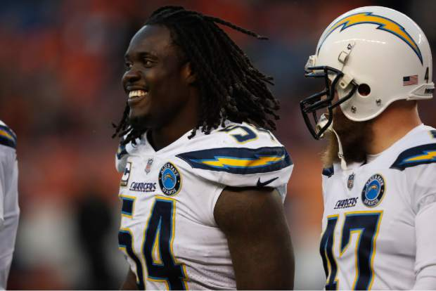 Los Angeles Chargers defensive end Melvin Ingram reacts during the second half of an NFL football game against the Denver Broncos, Sunday, Dec. 30, 2018, in Denver. (AP Photo/David Zalubowski)