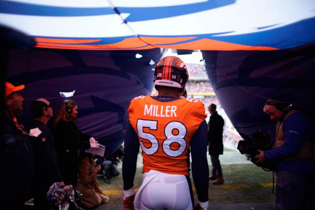 Denver Broncos outside linebacker Von Miller leaves a tunnel before an NFL football game against the Los Angeles Chargers, Sunday, Dec. 30, 2018, in Denver. (AP Photo/Jack Dempsey)