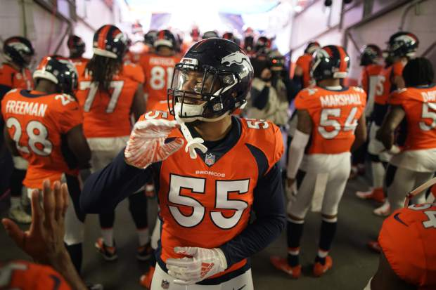 Denver Broncos outside linebacker Bradley Chubb reacts before an NFL football game against the Los Angeles Chargers, Sunday, Dec. 30, 2018, in Denver. (AP Photo/Jack Dempsey)