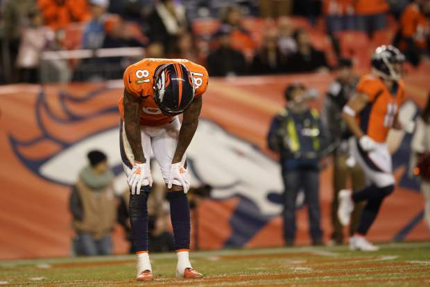 Denver Broncos wide receiver Tim Patrick reacts after a missed catch during the second half of an NFL football game against the Los Angeles Chargers, Sunday, Dec. 30, 2018, in Denver. (AP Photo/Jack Dempsey)