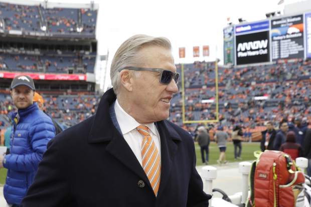 Denver Broncos president of football operations John Elway looks on before an NFL football game between the Los Angeles Chargers and the Denver Broncos, Sunday, Dec. 30, 2018, in Denver. (AP Photo/Jack Dempsey)