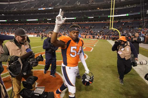 Denver Broncos inside linebacker Brandon Marshall reacts afteran NFL football game against the Los Angeles Chargers, Sunday, Dec. 30, 2018, in Denver. (AP Photo/Jack Dempsey)