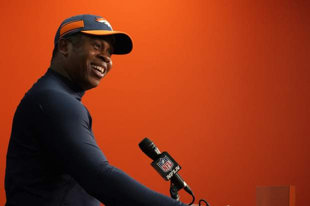 Denver Broncos head coach Vance Joseph speaks during a news conference after an NFL football game against the Los Angeles Chargers, Sunday, Dec. 30, 2018, in Denver. (AP Photo/Jack Dempsey)