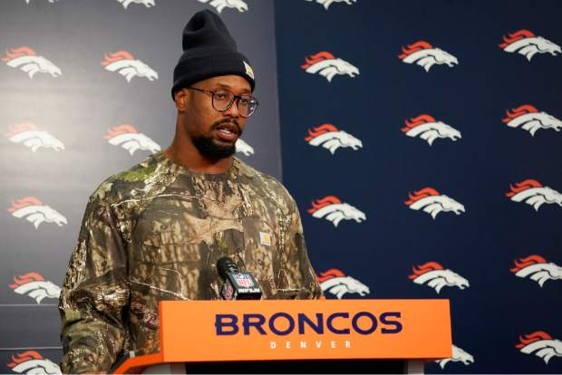 Denver Broncos outside linebacker Von Miller speaks during a news conference after an NFL football game against the Los Angeles Chargers, Sunday, Dec. 30, 2018, in Denver. (AP Photo/Jack Dempsey)