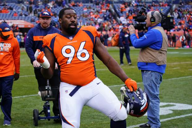 Denver Broncos defensive end Shelby Harris reacts before an NFL football game between the Los Angeles Chargers and the Denver Broncos, Sunday, Dec. 30, 2018, in Denver. (AP Photo/Jack Dempsey)