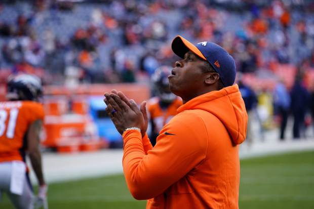 Denver Broncos head coach Vance Joseph looks on before an NFL football game between the Los Angeles Chargers and the Denver Broncos, Sunday, Dec. 30, 2018, in Denver. (AP Photo/Jack Dempsey)