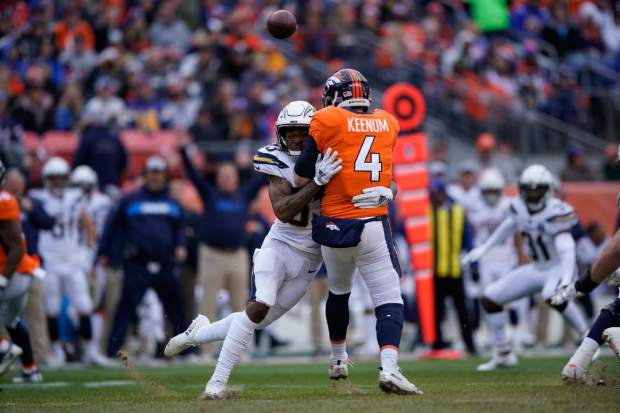 Los Angeles Chargers free safety Derwin James hits Denver Broncos quarterback Case Keenum during the first half of an NFL football game, Sunday, Dec. 30, 2018, in Denver. (AP Photo/Jack Dempsey)