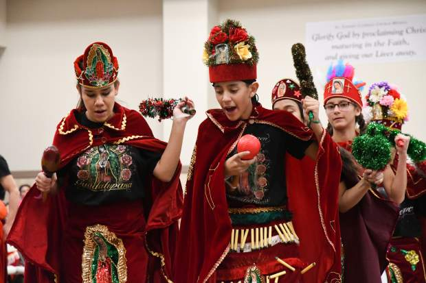 Young Matachines perform a dance for the Our Lady of Guadalupe celebration held at the St. Stephen Catholic church in Glenwood Springs on Wednesday.