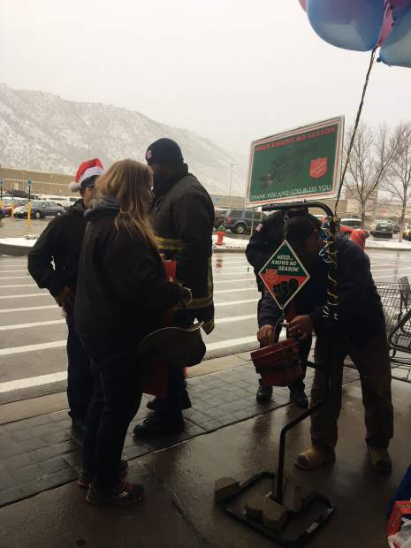 Officers and fire fighters were out in front of the Wal-mart all-day Saturday seeking donations from anyone that walked by.