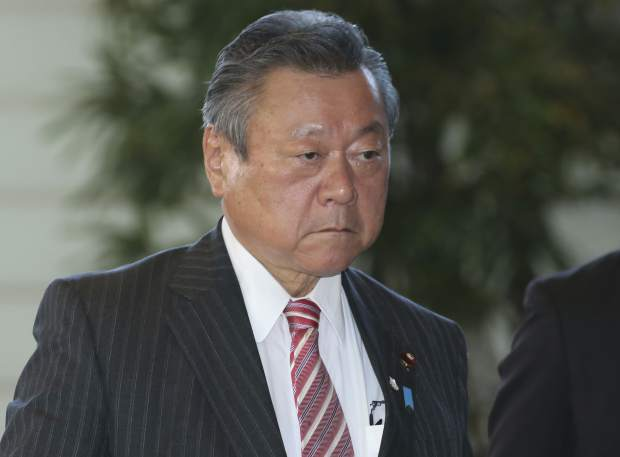 Japan's Minister in Charge of the Tokyo Olympics Yoshitaka Sakurada arrives at the prime minister's official residence in Tokyo. Sakurada, also the minister in charge of cybersecurity, is in the spotlight for acknowledging he had never used a computer and making comments showing he had no idea what a USB port might be