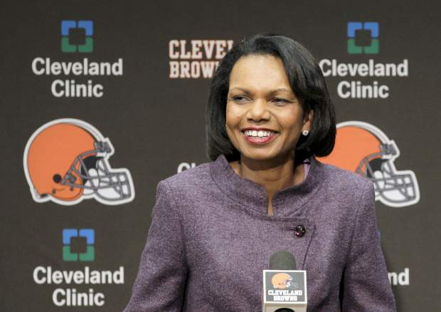 Former Secretary of State Condoleezza Rice talks with the media after visiting with the Cleveland Browns coaches and players at the Browns training facility in Berea, Ohio. When you go 0-16 these things happen. The Browns plunged to such depths after their winless 2017 season they were compelled to knock down a report they were considering former Secretary of State Condoleezza Rice to be their next coach.