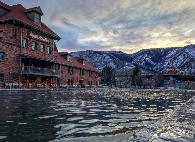 Pool goers enjoy a mild January evening at the Glenwood Hot Springs Pool.