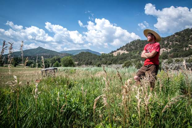 Sustainable Settings vegetable grower Michael Long surveys the dry and barren land on the ranch in July. This time of year the entire field should be green, lush and full of purple flowers.