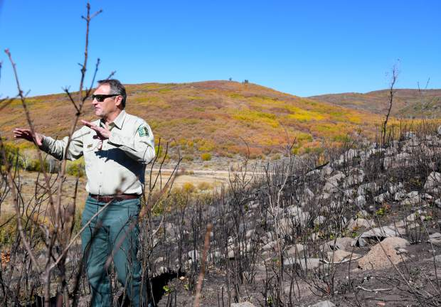 Scott Fitzwilliams with the White River National Forest explains the purpose of controlled burns and how they help prevent the spread of fires such as the Lake Christine FIre that broke out in July.