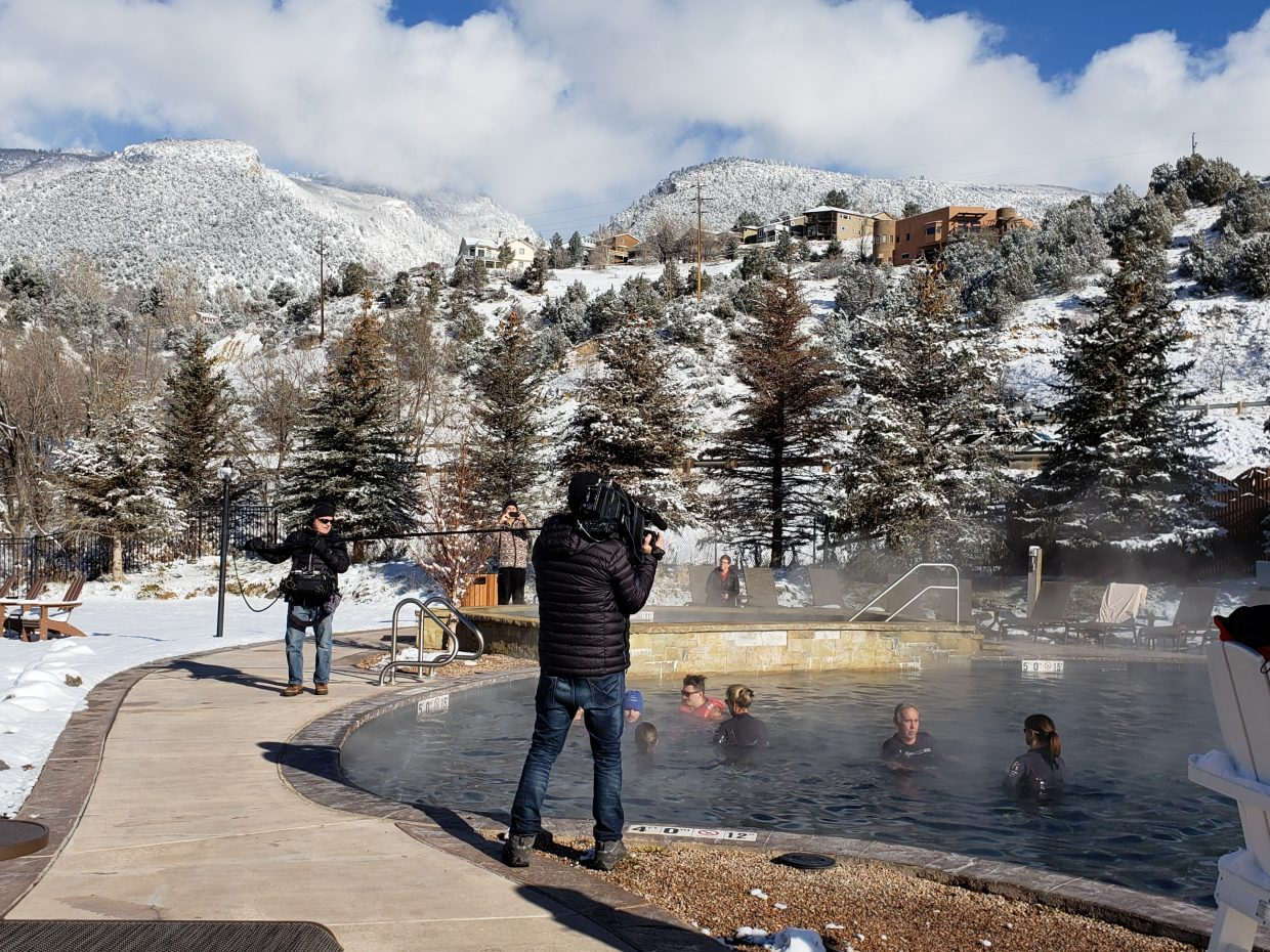 No. 1 - A film crew for The Today Show shot footage of Glenwood Springs' NFI founder Lauryn Maloney-Gepfert at the Iron Mountain Hot Springs.