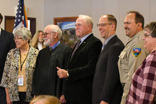 Garfield County elected officials gather for a group photo at the public swearing-in ceremony held on Tuesday morning.