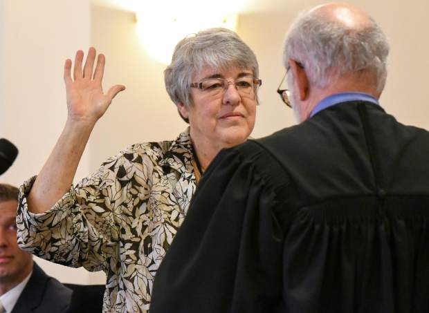 Garfield County Clerk and Recorder Jean Alberico is sworn into office for a fourth term at the public swearing-in ceremony held on Tuesday morning.