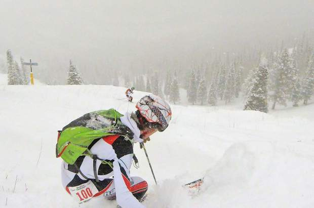 Max Bonenberge of Summit County makes his descent during Sunday's Heathen Challenge at Sunligt Mountain Resort.