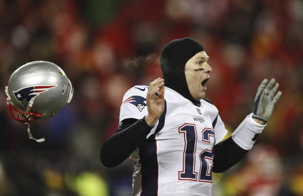 New England Patriots quarterback Tom Brady celebrates after defeating the Kansas City Chiefs in the AFC Championship NFL football game, Sunday, Jan. 20, 2019, in Kansas City, Mo. (AP Photo/Jeff Roberson)