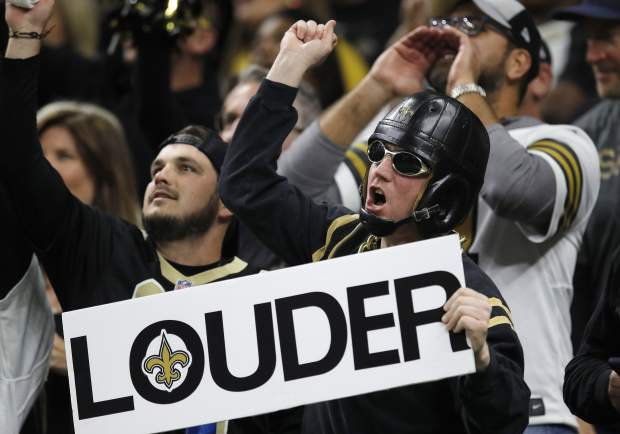 Fans cheer during the first half the NFL football NFC championship game between the New Orleans Saints and the Los Angeles Rams, Sunday, Jan. 20, 2019, in New Orleans. (AP Photo/Carolyn Kaster)