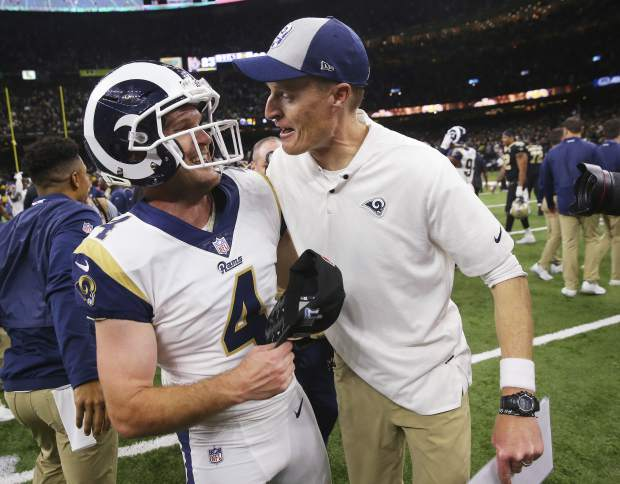 Los Angeles Rams' Greg Zuerlein is congratulated after a game-winning field goal during overtime of the NFL football NFC championship game against the New Orleans Saints, Sunday, Jan. 20, 2019, in New Orleans. The Rams won 26-23. (AP Photo/Gerald Herbert)