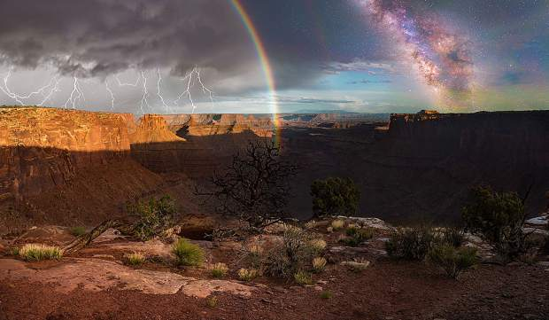 "Colorado Mountain College student photographer Dustin Gregory earned a photo illustration award of excellence for his image, ""Layers of Time: Day to Night in Canyonlands"" in the 2018 international College Photographer of the Year competition. Inspired by photographer Stephen Wilkes' ""Day to Night"" series, Gregory took photos over a two-day period in the same location and blended them together using Photoshop."
