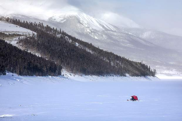 Ice fishermen on Lake Dillon with Gore Range in the background Tuesday, Jan. 22, near Dillon.