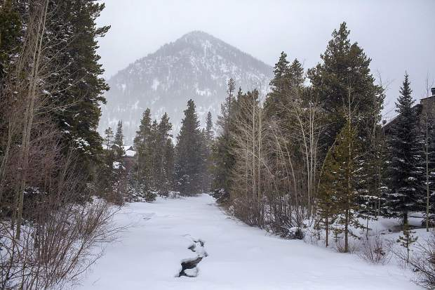 Tenmile Creek buried under snow in Frisco Wednesday, Jan. 16.