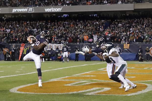 Chicago Bears strong safety Adrian Amos (38) intercepts a pass in the end zone during the first half of an NFL wild-card playoff football game against the Philadelphia Eagles Sunday, Jan. 6, 2019, in Chicago. (AP Photo/Nam Y. Huh)
