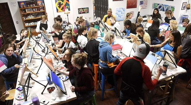 Members of the Glenwood Springs High School girls basketball team enjoyed a team bonding paint night last week at Create! Art & Essence art center.