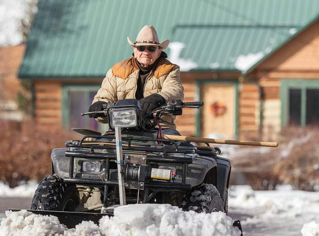 @clairecophotos: 100-year-old Leno Montover of Parachute takes pride in being able to plow snow for his neighbors. #postsnaps