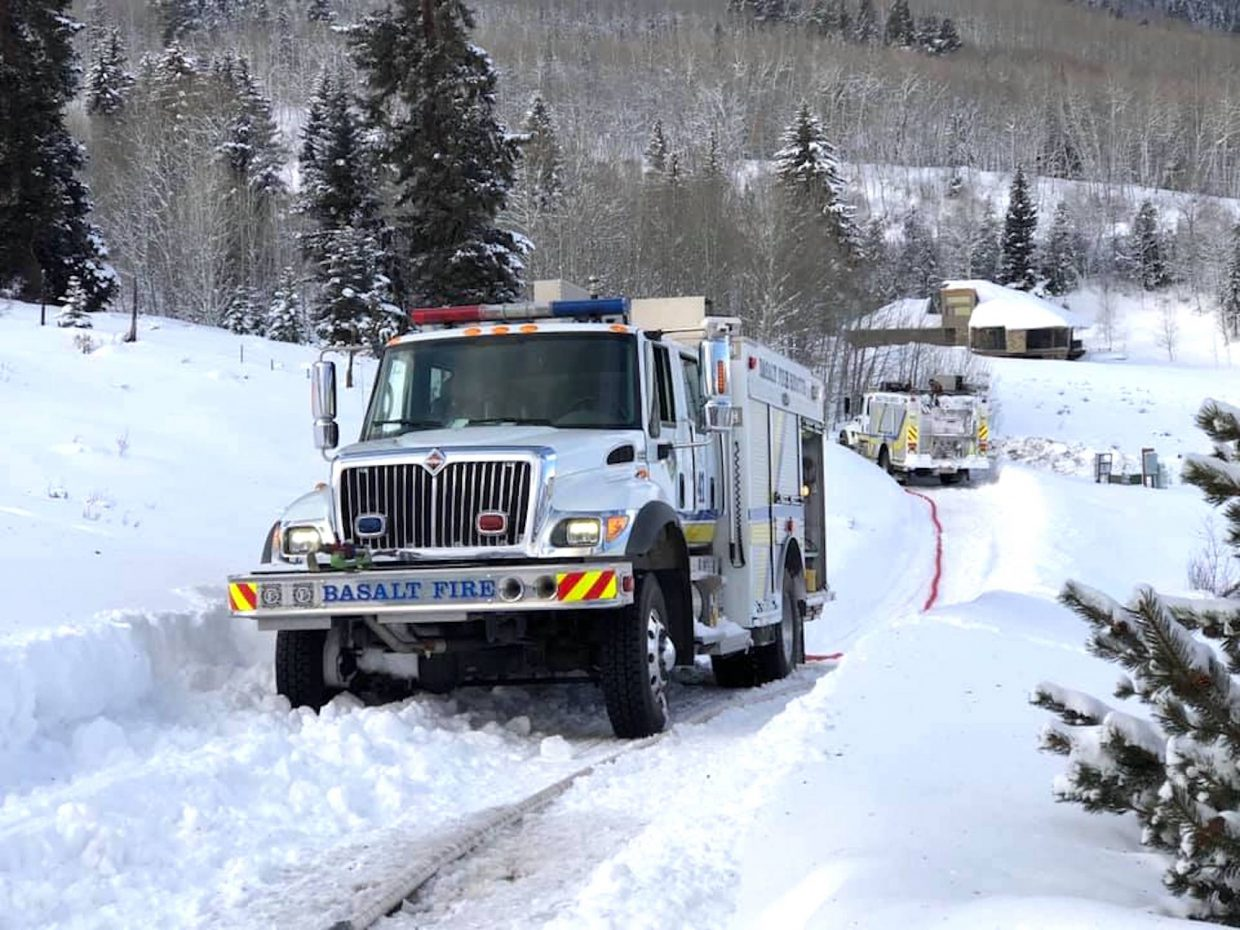 A snowpacked, icy driveway made it nearly impossible to haul water to the scene of a house fire above Ruedi Reservoir Tuesday morning, according to fire district officials.