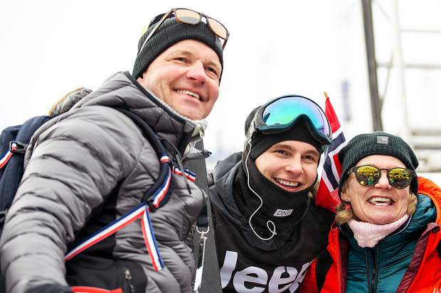 Alex Beaulieu-Marchand poses for a photo with his parents after the men's ski slopestyle final on Saturday at Buttermilk. ABM took silver with a 92.66.