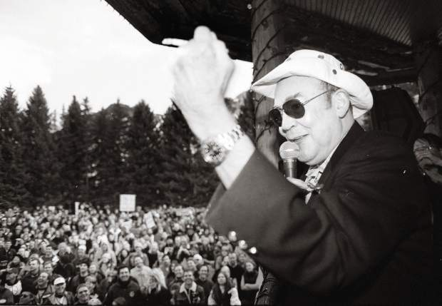 Hunter S. Thompson photographed at a peace rally in Paepcke Park on Feb. 2, 2003 during the run-up to the U.S. invasion of Iraq.