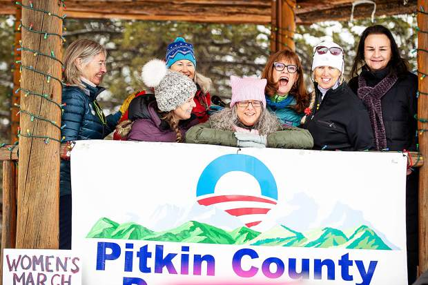 All of the women who spoke for the third annual Women's Ski and March for Decency and Truth, left to right, Aspen City Councilwoman and Aspen Mayoral candidate, Ann Mullins, Pitkin County Commissioner Kelly McNicholas Kury, author Linda Lafferty, Pitkin County Democrats Administrative Vice Chair Betty Wallach, Colorado State Representative Julie McCluskie, event organizer Megan Reilly, and Pitkin County Commissioner and Aspen City Council candidate Rachel Richards pose for a photo in Aspen on Saturday.