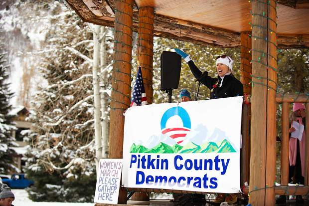 Megan Reilly speaks in Aspen on Saturday for the third annual Women's Ski and March for Decency and Truth. The event was hosted by Pitkin County Democrats and had an assortment of speakers at Paepcke Park including Colorado State Representative Julie McCluskie.