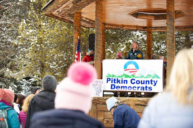 Aspen City Councilwoman Ann Mullins speaks in Aspen on Saturday for the third annual Women's Ski and March for Decency and Truth. The event was hosted by Pitkin County Democrats and had an assortment of speakers at Paepcke Park including Colorado State Representative Julie McCluskie.
