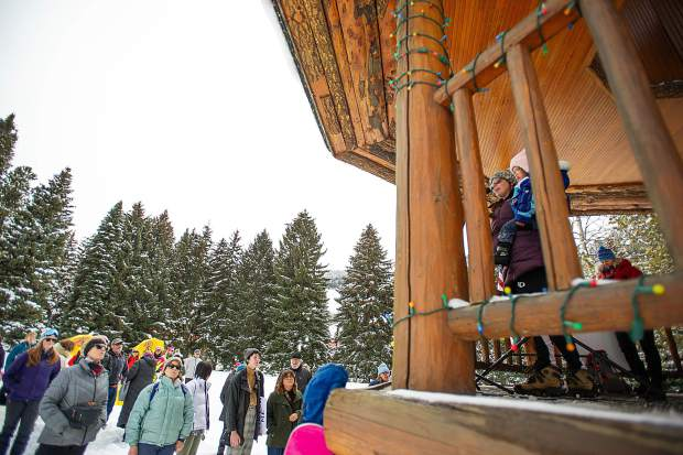 Recently elected Pitkin County Commissioner Kelly McNicholas Kury speaks in Aspen on Saturday for the third annual Women's Ski and March for Decency and Truth. The event was hosted by Pitkin County Democrats and had an assortment of speakers at Paepcke Park including Colorado State Representative Julie McCluskie.