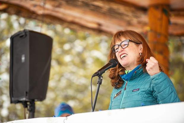 Colorado State Representative Julie McCluskie speaks in Aspen on Saturday for the third annual Women's Ski and March for Decency and Truth. The event was hosted by Pitkin County Democrats and had an assortment of speakers at Paepcke Park.
